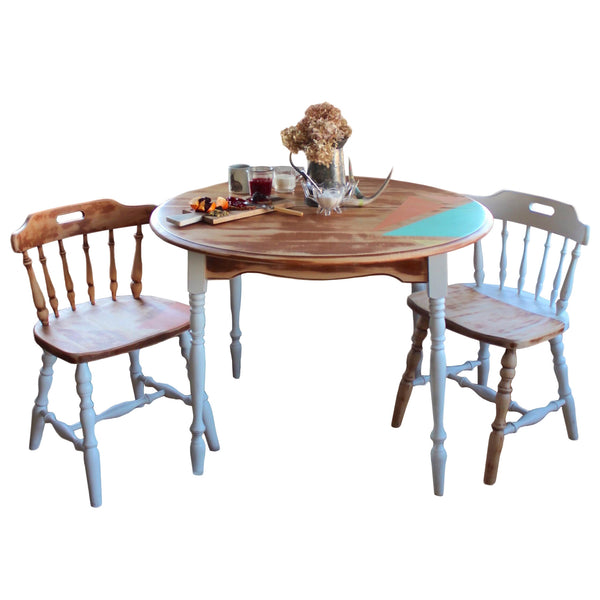 Vintage Wood Geometric Dining Set