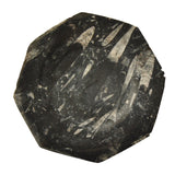 Decorative Fossilized Marble Plate Octagonal Black White
