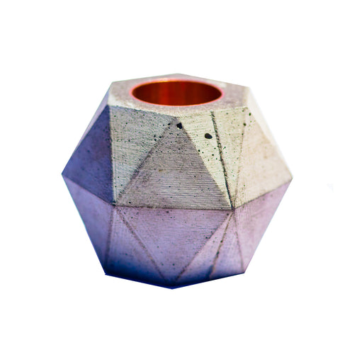 Copper Facets Concrete Candle Holder