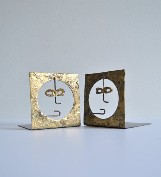 Pair of Vintage Brass Face Bookends