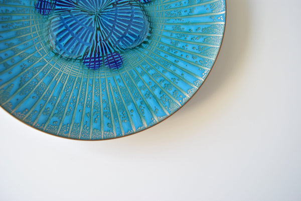 Annemarie Davidson Abstract Blue Enamel Jewels Plate