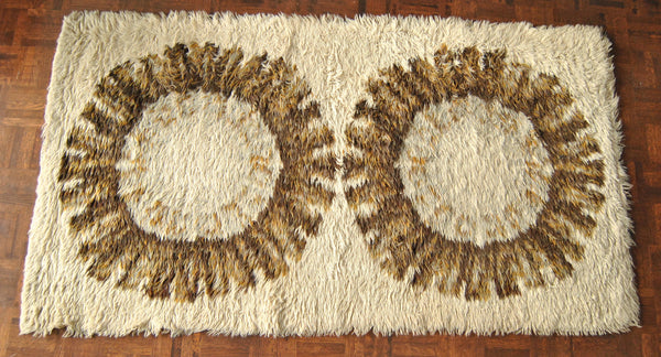 Vintage Wool Rya Rug in Beige Cream Sunburst Pattern Danish Modern