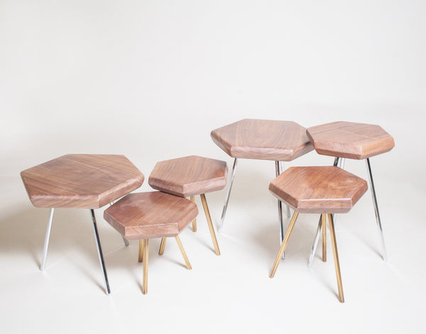 Hexagon Walnut Tables