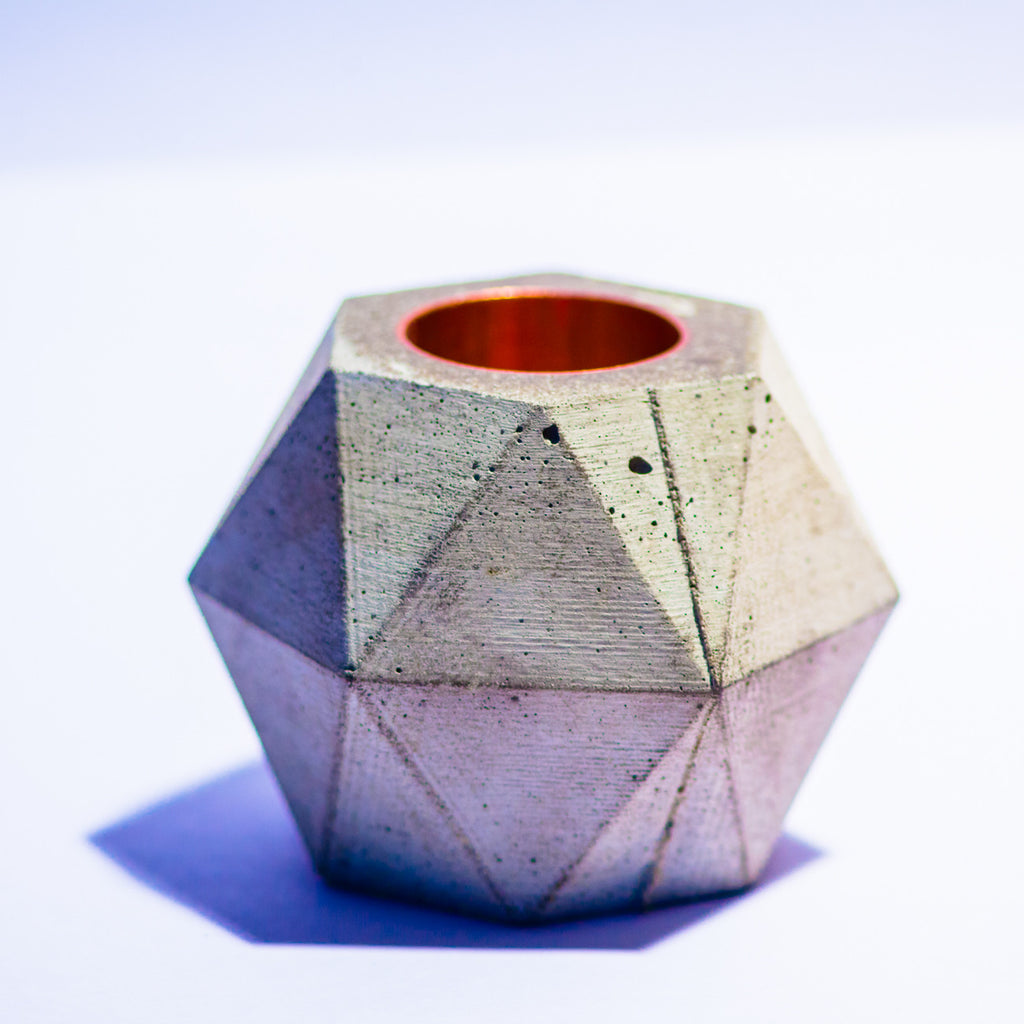 Copper Facets Concrete Candle Holder The Consortium The Consortium