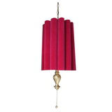 Pair of Raspberry Mid-Century Modern Hanging Lamps