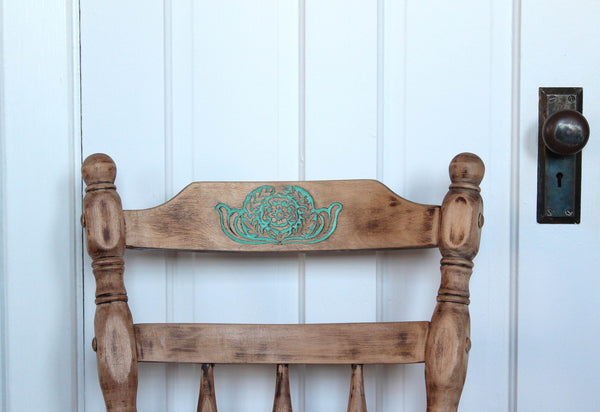 Vintage Wood Chair with Floral Engraving