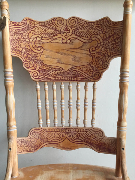Vintage Wood Pressed Back Chair