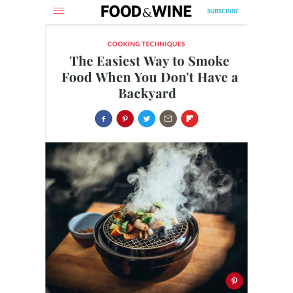 Article about Our Donabe Smoker, Ibushi Gin in Food & Wine