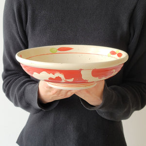 Akadami-Karakusa Shallow Wide Donburi Bowl