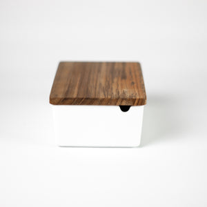 Porcelain Butter Case with Wood Lid