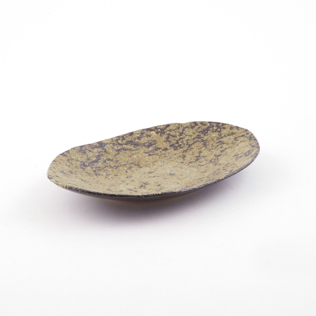 Yu Tohen Green Rust Oval Plate