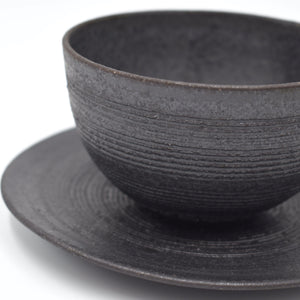 Hechimon Kushime-Sumiguro Bowl and Plate Set
