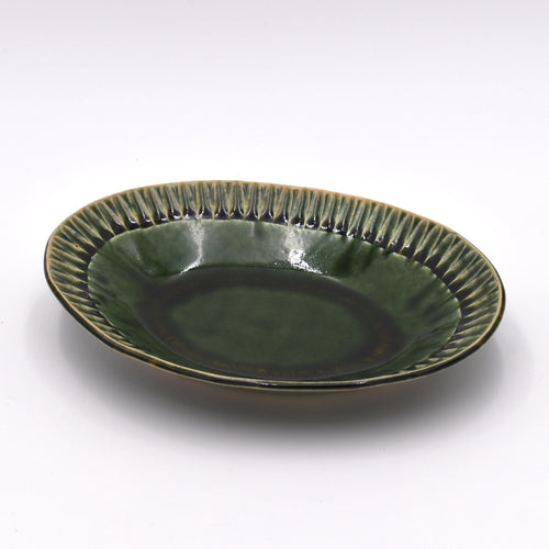 Oribe-Tokusa Shinogi Oval Shallow Bowl