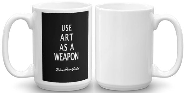 "John Heartfield Art Mug. Great antifascist art merch featuring famous political slogan ""Art As A Weapon"""