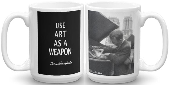 John Heartfield Mug. Art As A Weapon Slogan and rare photo of John Heartfield, Paris 1935