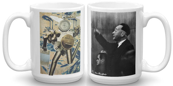 john heartfield exhibition shop robot art mug, a vision of robots replacing humans.