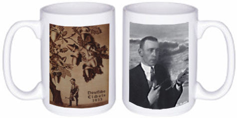 Heartfield Political Art Mug<br />Front: Deutsche Eicheln<br />Back: Heartfield At Work