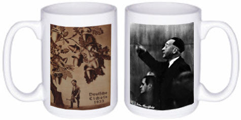 Heartfield Political Art Mug<br />Front: Deutsche Eicheln<br />Back: Heartfield Recognized