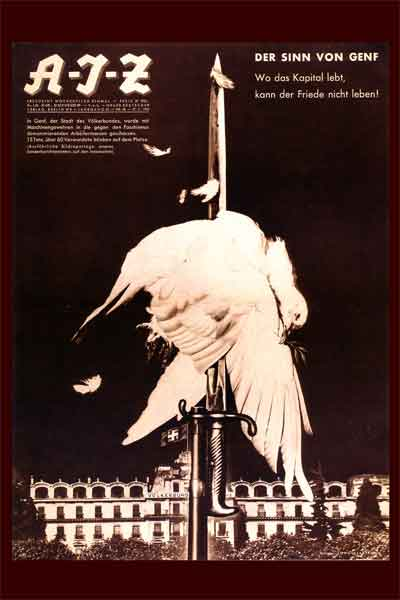 Famous Antiwar Poster. Most Famous German Antiwar Poster Never Again. Most Famous AIZ antiwar magazine cover. Dada political artist John Heartfield