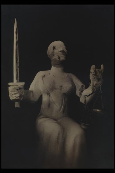 Famous Political Poster. Poster depicting bruised battered Lady Justice.  John Heartfield Dada Political Artist