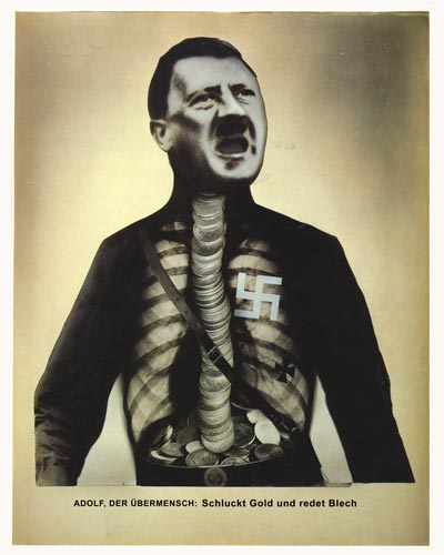 Political Posters. Satiric Adolf Hitler Portrait: Adolf Superman Dada political artist John Heartfield