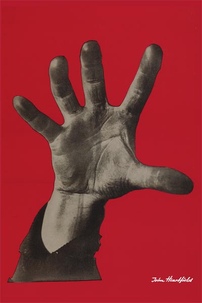 Political Posters. Famous Political Art Poster John Heartfield 5 Finger Hand.