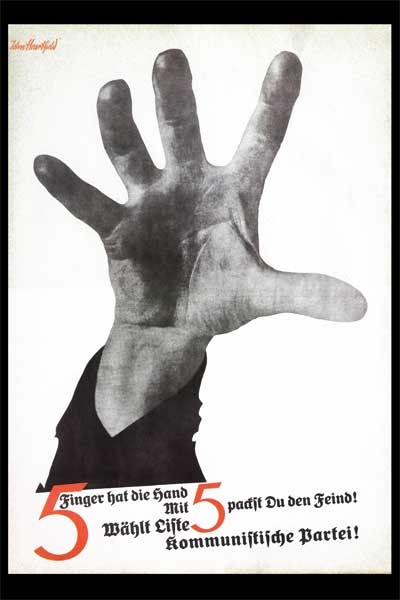 famous political art five fingers hand John Heartfield