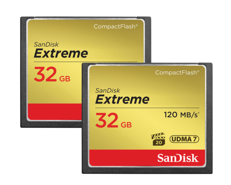 SanDisk 32 GB Extreme CompactFlash Memory Card (2-Pack) SDCFXS2-032G-G46