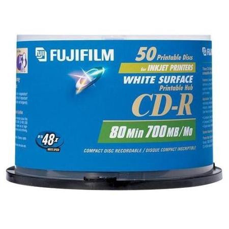 FUJI CD-R80 25307211 48X WHITE INKJET PRINTABLE 50 PACK