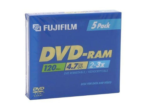 FUJI DVDRAM 4.7GB 3X 25322046 IN JEWEL CASE 5 PACK