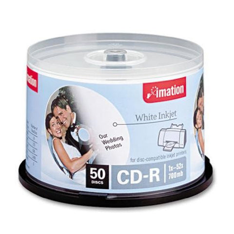 IMATION CD-R80 52X WHITE INKJET HUB PRINT 50 CT 17304