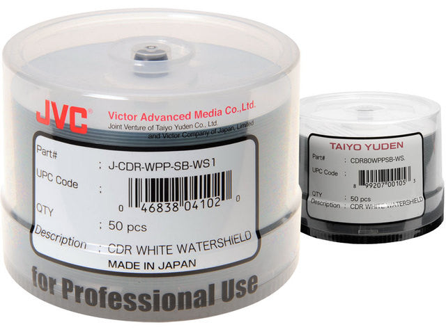 JVC CD-R80 52X WHITE INKJET PRINTABLE SP100, J-CDR-WPP-SK