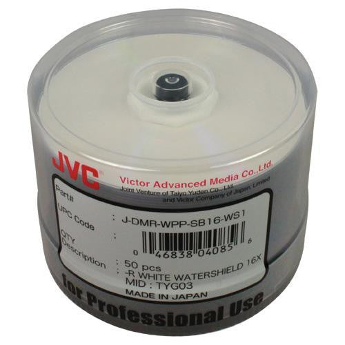 JVC DVD-R *WATERSHIELD* WHITE INKJET HUB PRINTABLE 16X SP50, JDMR-WPPSB16-WS