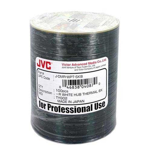 JVC DVD-R WHITE THERMAL EVEREST HUB PRINTABLE 8X SP100, J-DMR-WPT-SK8