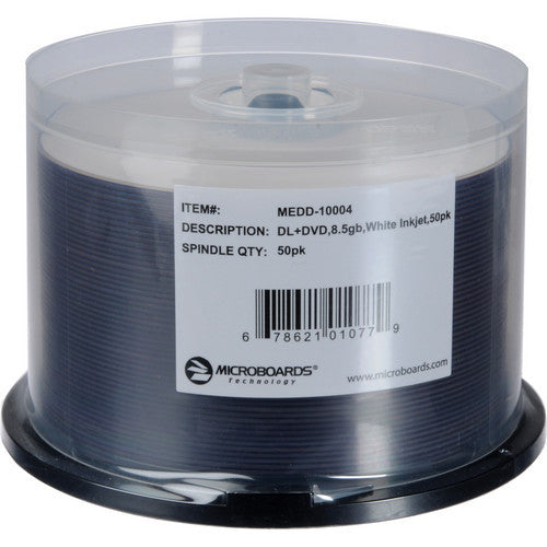 MICROBOARDS DVD+R 8.5GB DUAL LAYER WHITE INKJET HUB PRINTABLE SP50, #10004
