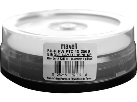 MAXELL BLU-RAY  25GB WHITE INKJET HUB PRINTABLE 4X SP15, 631011