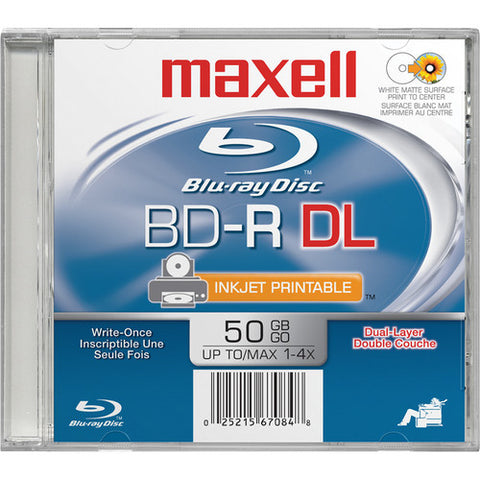 MAXELL BLU-RAY 50GB WHITE INKJET HUB PRINTABLE 4X JEWEL CASE  631013