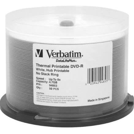 VERBATIM DVD-R GP WHITE THERMAL EVEREST HUB PRT SP50, 94853