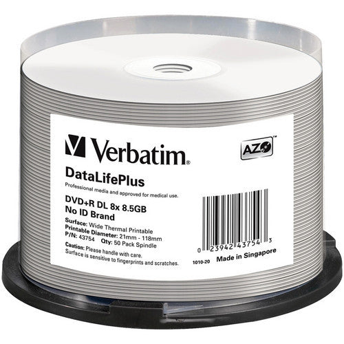 VERBATIM DUAL LAYER DVD+R WHITE THERMAL HUB PRINTABLE, 43754