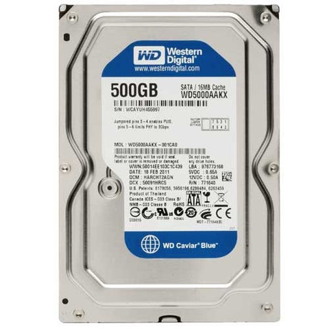 "Western Digital WD 500GB CAVIAR BLUE 3.5"" INTERNAL SATA DRIVE, 7200, EMPRESS #WDCB500, Mfr# WD5000AAKX (Discontinued)"