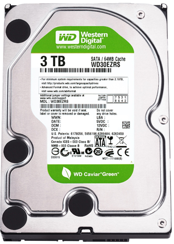 "Western Digital WD Green 3TB 7200 RPM 64MB Cache SATA 6.0Gb/s 3.5"" Internal Hard Drive Bare Drive -OEM, EMPRESS #WDCG3,  MFR #WD30EZRX"