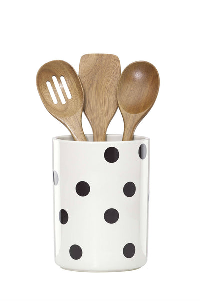 Kate Spade Deco Dot Crock with Utensils
