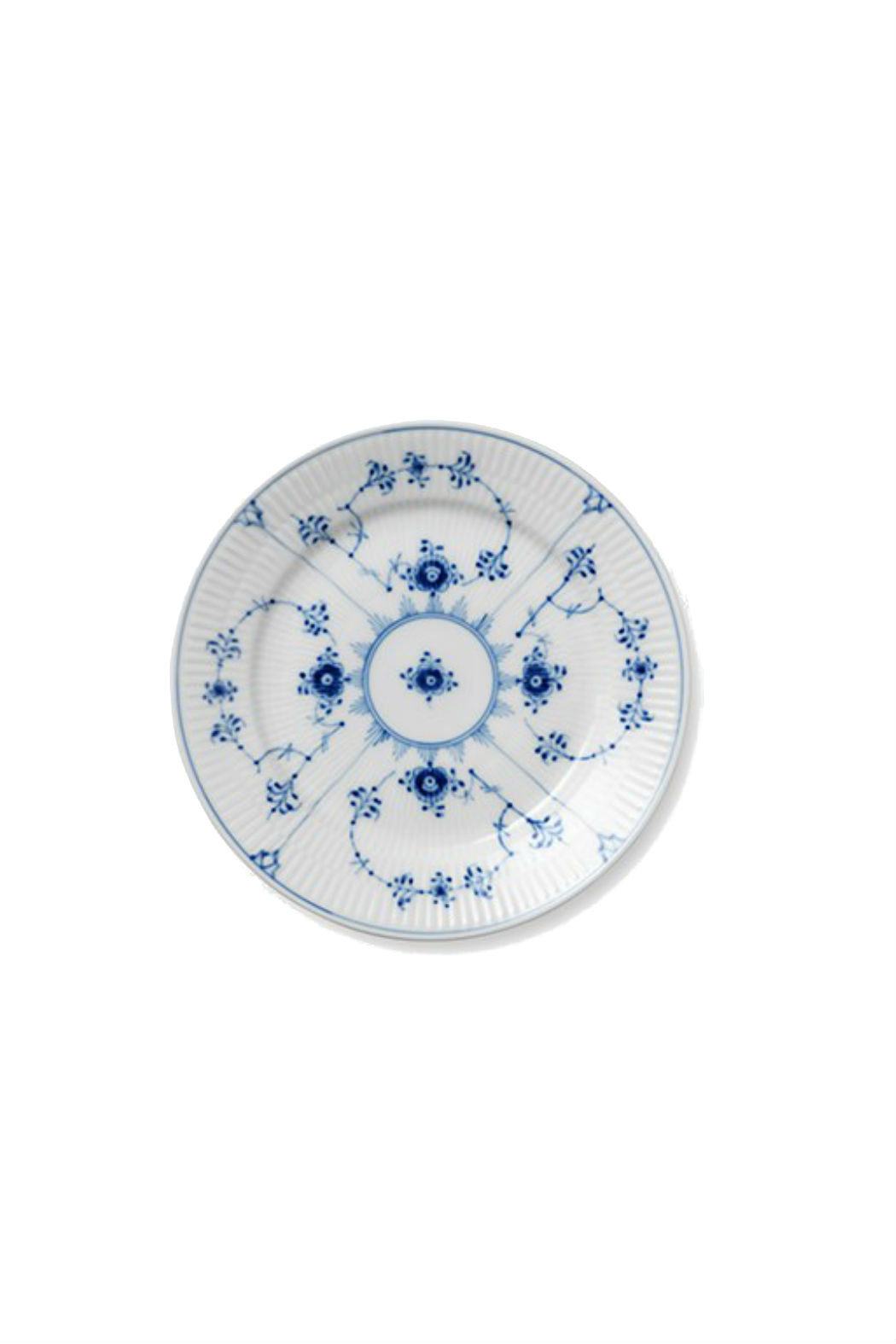 royal copenhagen salad plate, salad plate, fluted salad plate, blue and white salad plate