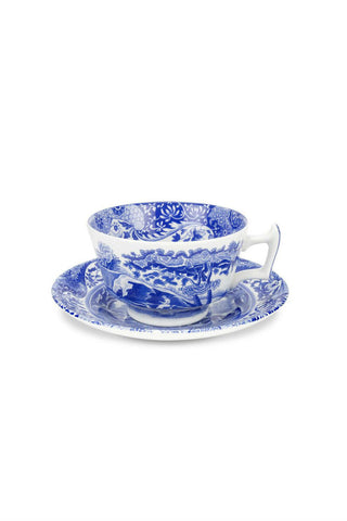 Spode Blue Italian Tea Cup & Saucer, Set of Four with Free Shipping