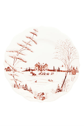 Juliska Country Winter Frolic Ruby Christmas Eve Dinner Plate