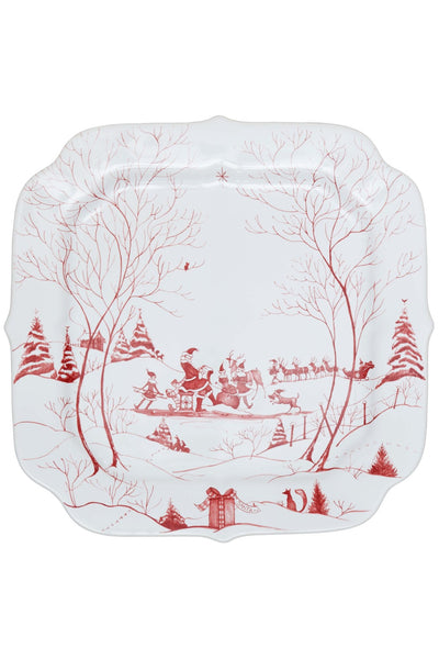 Juliska Country Estate Winter Frolic Ruby Santa's Cookie Tray Naughty and Nice List
