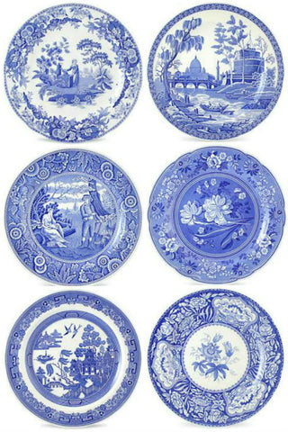 Spode Blue Room Set of 6 Georgian Plates with Free Shipping