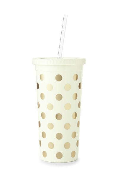 Kate Spade Party Dots Tumbler with Straw