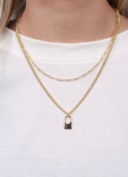 Jessa Layered Necklace With Lock Charm