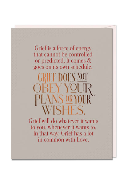 Grief Does Not Obey Card